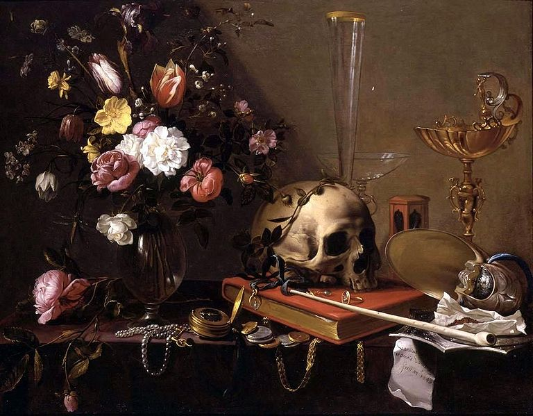 768px-Adriaen_van_Utrecht-_Vanitas_-_Still_Life_with_Bouquet_and_Skull